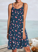 Navy Blue Strapless Cold Shoulder Shift Floral Dresses