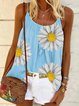 Vintage Sleeveless Boho Daisy Floral Printed Crew Neck Plus Size Casual Vest Tops