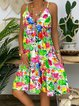Floral-Print Spaghetti Floral Casual Dresses