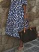 Plus size V Neck Short Sleeve Floral Dresses