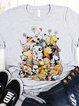 Gray Short Sleeve Printed Shirts & Tops