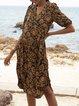 Black V Neck Short Sleeve Floral Shift Dresses