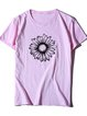 Vintage Short Sleeve Statement Daisy Floral Printed Crew Neck Plus Size Casual Tops