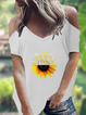 Cold Shoulder Sunflower Print T-Shirts & Tops