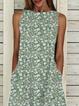Plus size Sleeveless Crew Neck Floral Dresses