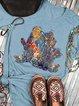 Blue Short Sleeve Abstract Casual Shirts & Tops