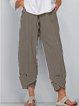 Khaki Pockets Cotton-Blend Simple Striped Pants