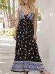 V Neck  Shift Floral-Print Floral Maxi Dress
