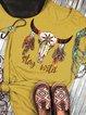 Yellow Shift Cotton Vintage Short Sleeve Shirts & Tops