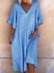 V Neck Solid Short Sleeve Casual Dresses