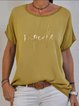 Deep Green Letter Short Sleeve Printed Shirts & Tops