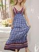 V Neck Blue  Holiday Boho Tribal  Maxi Dress