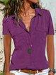 Casual Shift Shirt Collar Plain Shirts & Tops