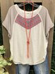 White Short Sleeve Casual Scoop Neckline Shirts & Tops