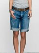 Blue Pockets Solid Denim Casual Pants