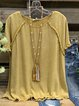 Yellow Short Sleeve Round Neck Shirts & Tops
