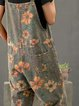 Grey casual floral print jumpsuit