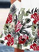 White Floral Casual Cotton-Blend Dresses