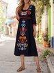 Half Sleeve Shift Vintage Embroidery Dresses