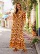 Yellow Cotton Ethnic Printed Tribal Dresses