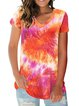Cotton-Blend Casual V Neck Dip-Dyed Shirts & Tops