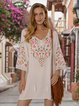 White Ethnic Shift V Neck Dresses
