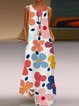 Flower Floral Holiday Crew Neck Sleeveless A-Line Swing Dresses