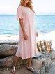 Pink Checkered/plaid Short Sleeve Boho Crew Neck Dresses