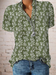 Plus size Vintage Short Sleeve Floral Shirts & Tops