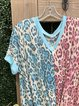 Leopard Print Short Sleeve Cotton-Blend Shirts & Tops