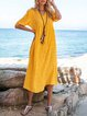 Yellow Casual Swing Solid Dresses