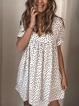 White Cotton Polka Dots V Neck Casual Dresses
