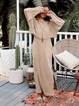 Khaki Crew Neck Long Sleeve Cotton-Blend Dresses