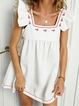 White Casual Sleeveless Square Neck Dresses