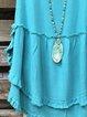 Aqua Blue Crew Neck Casual Shirts & Tops
