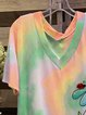 Color Cotton-Blend Short Sleeve Casual Shirts & Tops