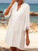 White Solid Casual Dresses