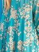 Blue Floral 3/4 Sleeve V Neck Shirts & Tops