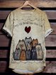 Plus Size Cotton-Blend Short Sleeve Animal Shirts & Tops