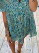 Plus size Printed Boho V Neck Dresses