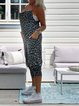 Blue Casual Leopard Spaghetti-Strap Jumpsuits
