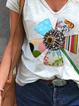 Short Sleeve Floral  V Neck Shirts & Tops