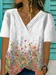 White Floral-Print Cotton-Blend Casual V Neck Shirts & Tops