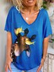 Blue Short Sleeve Printed Floral Cotton Shirts & Tops