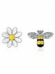 Asymmetric Sunflower Earrings with Cute Bee Studs