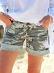 Camouflage Casual Pockets Buttoned Short Pants