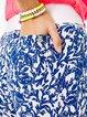 Blue Casual Floral Cotton-Blend Pants