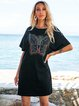 Black Cotton-Blend Shift Short Sleeve Mini Dresses
