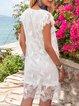 White Boho Mesh Shift V Neck Mini Dresses