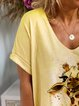 Yellow Short Sleeve V Neck Cotton Shirts & Tops